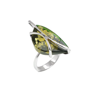 Dark Green Baltic Amber Sterling Silver Ring