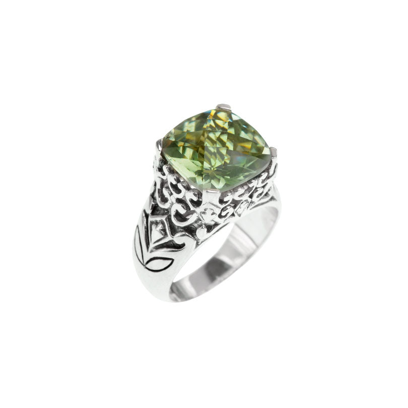 Gorgeous Faceted Green Amethyst Sterling Silver Filigree Design Ring