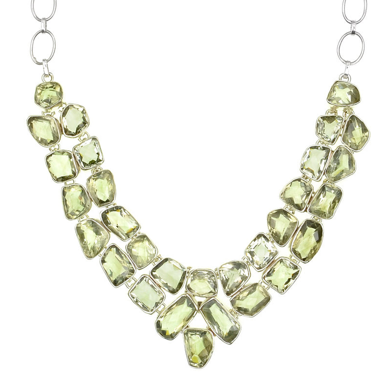 Gorgeous Sparkling Faceted Green Amethyst Sterling Silver Statement Necklace