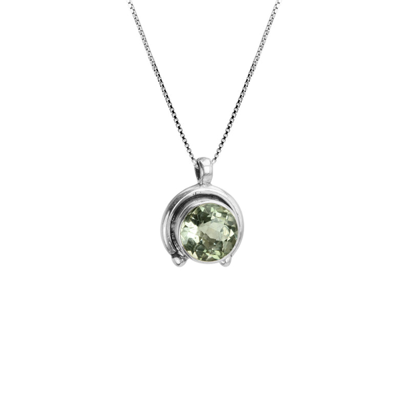 Sparkling Faceted Green Amethyst Sterling Silver Necklace 16