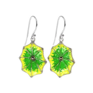 Marcasite and Enamel Lily Pad Earrings