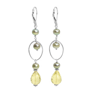 Lovely Light Green Fresh Water Pearl & Sparkling Lemon Quartz Sterling Silver Earrings