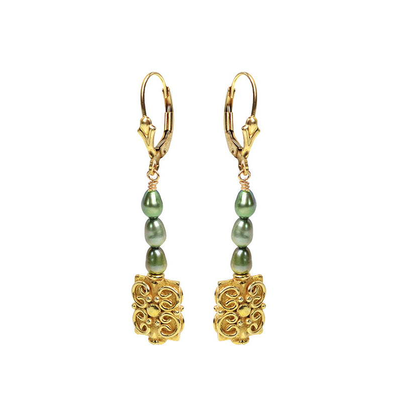 Vintage Inspired Green Fresh Water Pearl Earrings With Gold Filled Hooks