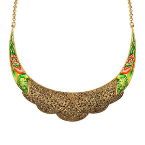 Shimmering 14kt Gold Plated Peacock with Sparkling Marcasite Necklace