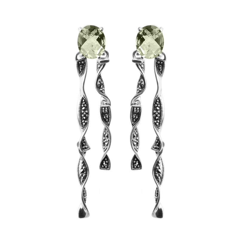Elegant Twisted Ribbon Sterling Silver Green Amethyst Marcasite Earrings