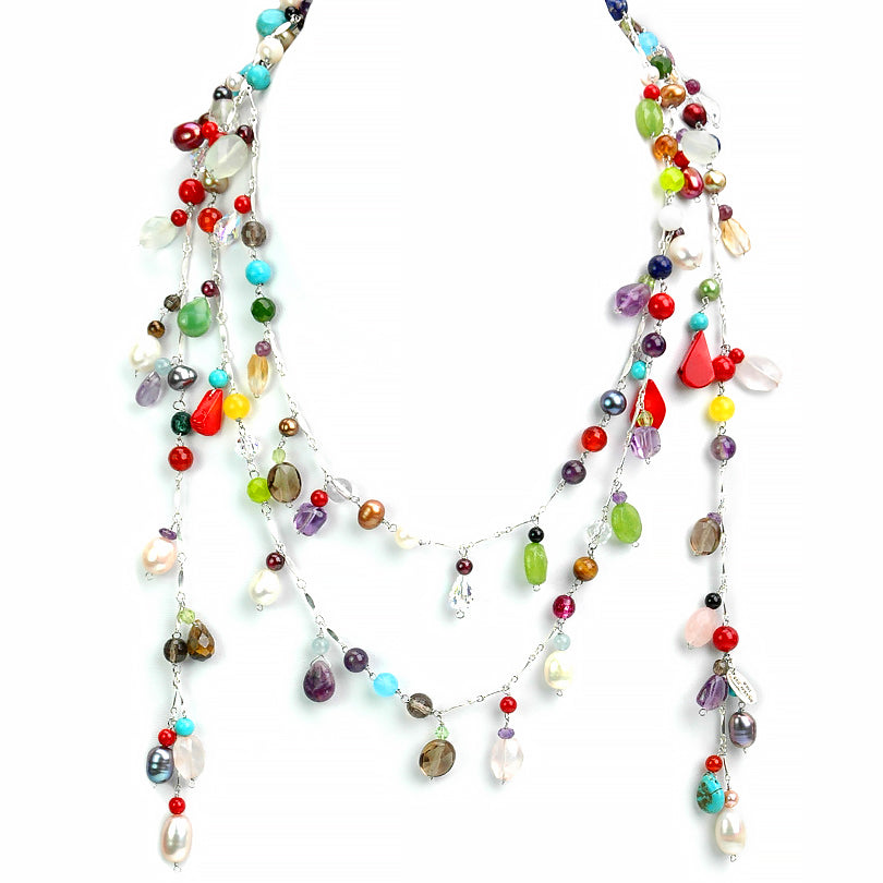Mixed Semi-Precious Stones on Sterling Silver Statement Happy Lariat Necklace