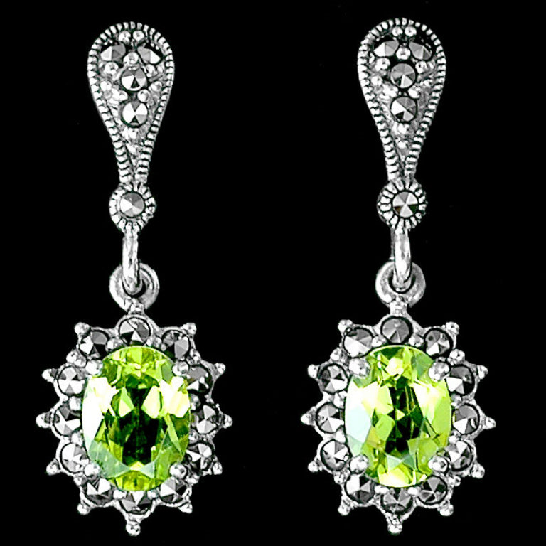Beautiful Peridot Marcasite Earrings