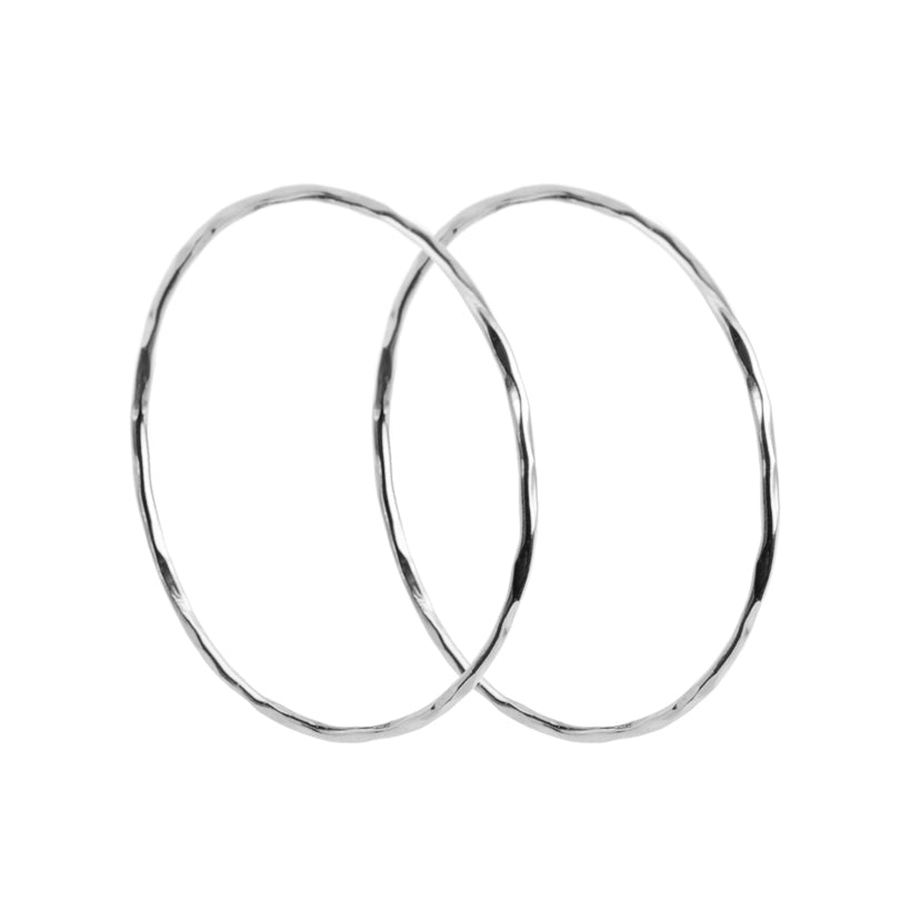 Italian Sparkling Diamond Cut Rhodium Plated Sterling Silver Hoops