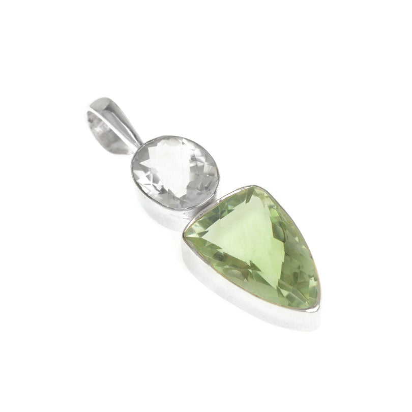 Beautiful Clear Faceted Quartz and Green Amethyst Pendant