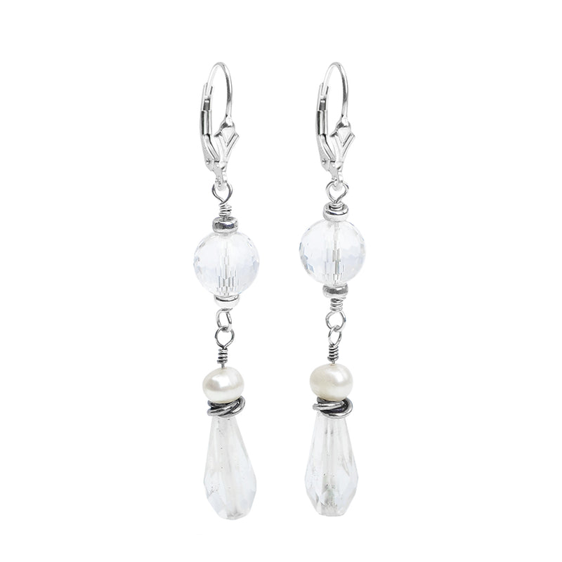 Darling Faceted Quartz And Fresh Water Pearl Earrings