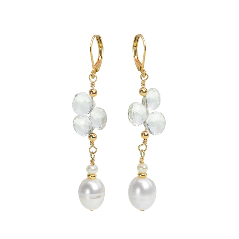 Glamorous Fresh Water Pearl and Ice Quartz Earrings on Gold Filled Earrings
