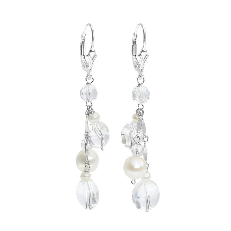 Sterling Silver Crystal & Fresh Water Pearl Earrings