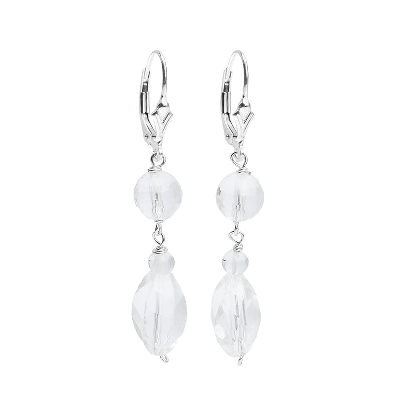 Shimmering Sterling Silver Crystal Quartz Earrings