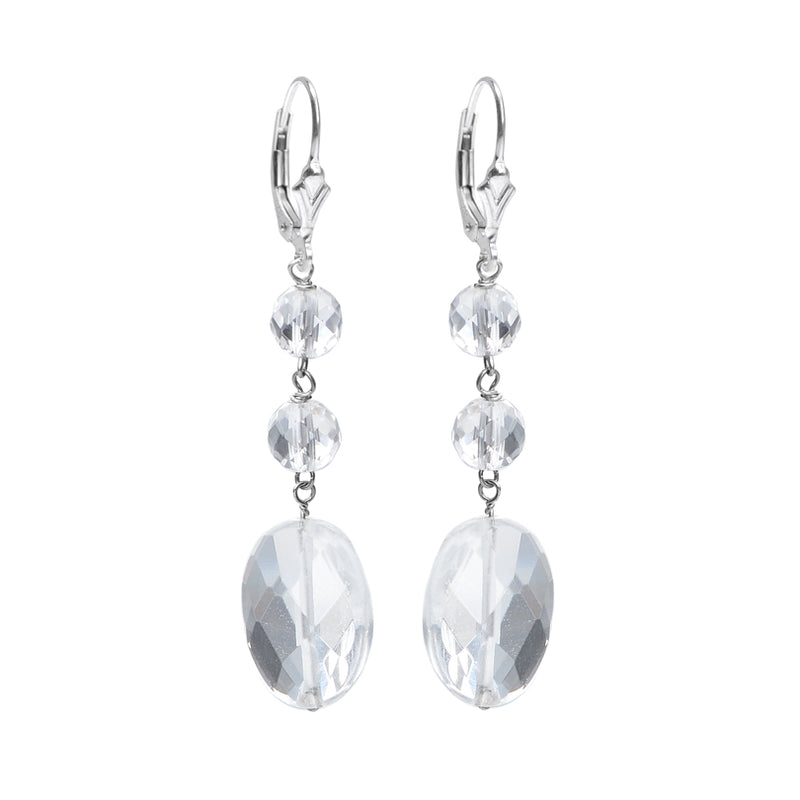 Sparkling Faceted Crystal Quartz Sterling Silver Earrings