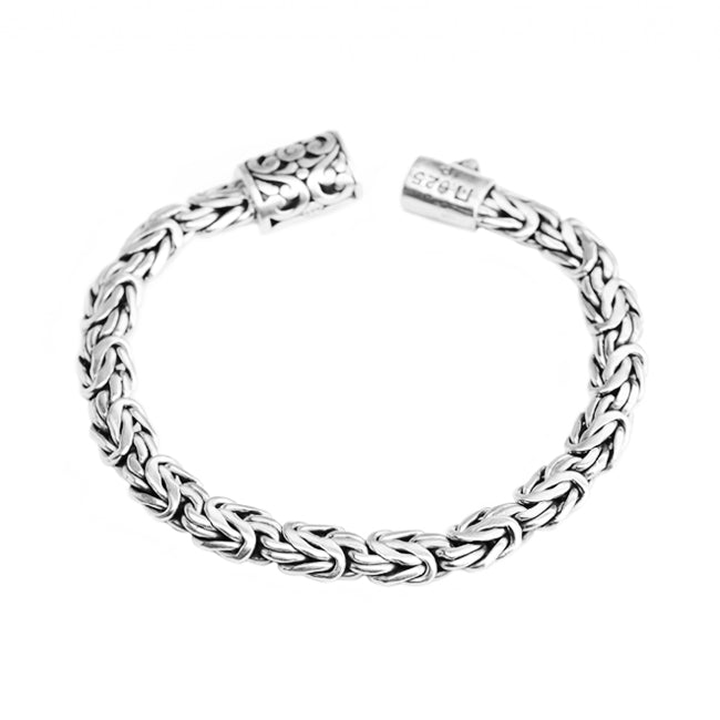 Sterling Silver 8mm Borobadur Bracelet with Filigree Barrel Clasp