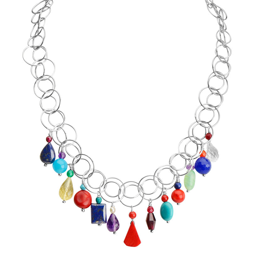 Lovely Cheerful Multi-Stone Sterling Silver Necklace