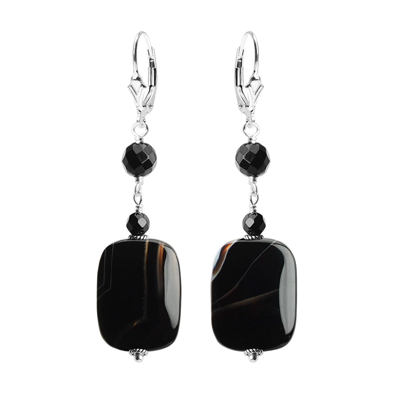 Classic Black Onyx Banded Agate Sterling Silver Earrings
