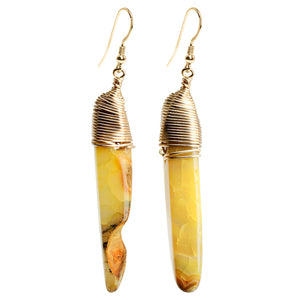 Gorgeous Egyptian Style Golden Agate Earrings With Gold Filled Hooks