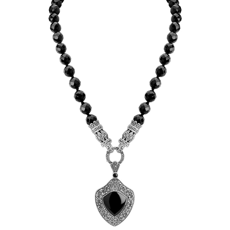 Luxurious Art Deco Inspired Faceted Black Onyx and Marcasite Necklace
