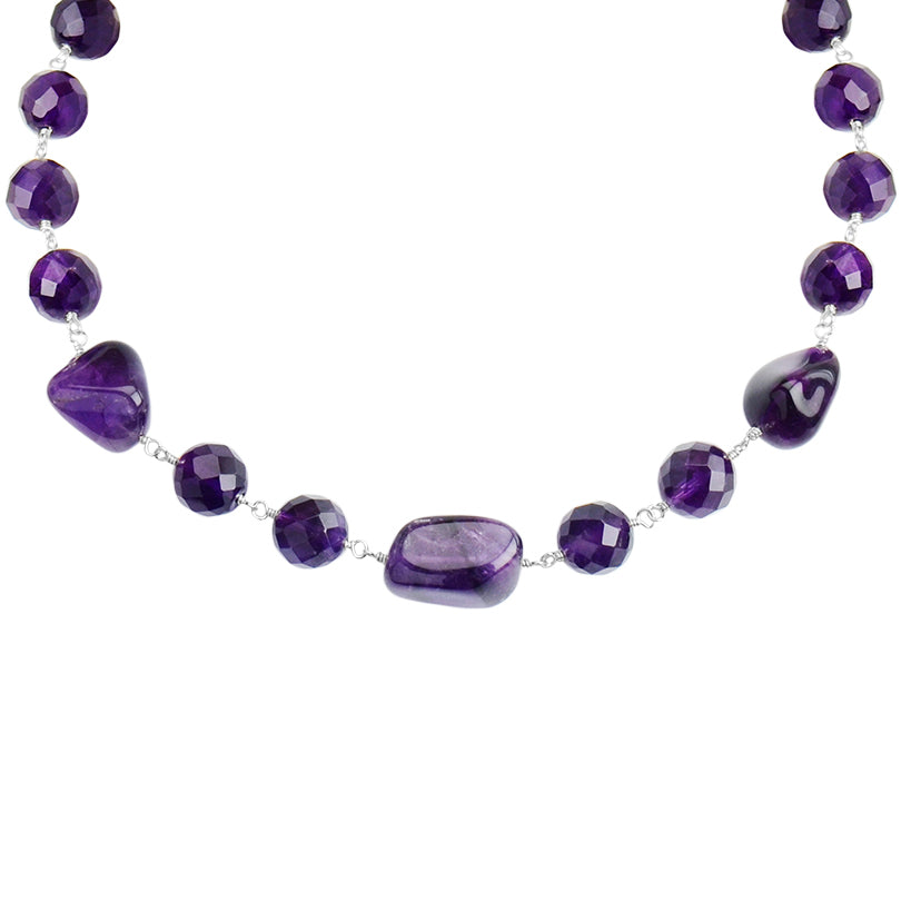 Rich, Deep Purple Bold Amethyst & Agate Necklace with Sterling Silver Toggle Clasp