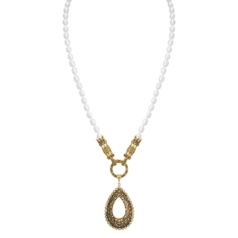 Elegant Vintage Inspired Marcasite Gold Plated Necklace with Fresh Water Pearl Neckline