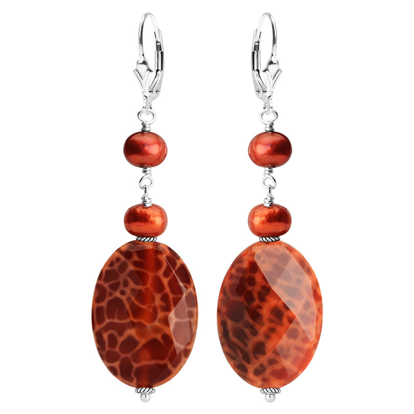 Luxurious Fire Agate and Fresh Water Pearl Sterling Silver Earrings