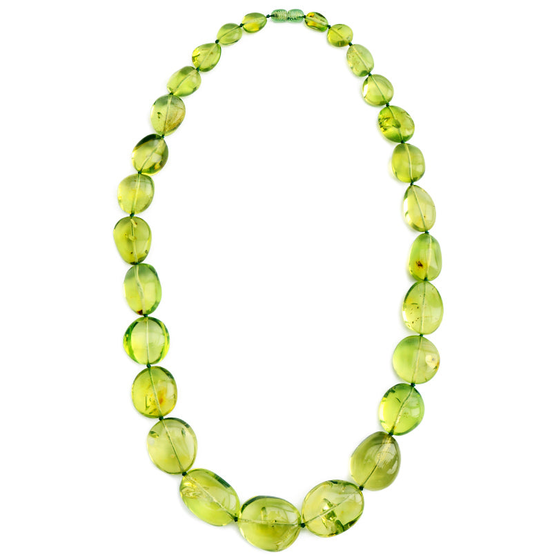 Gorgeous Clear Caribbean High Quality Green Amber Stones Statement Necklace 23""