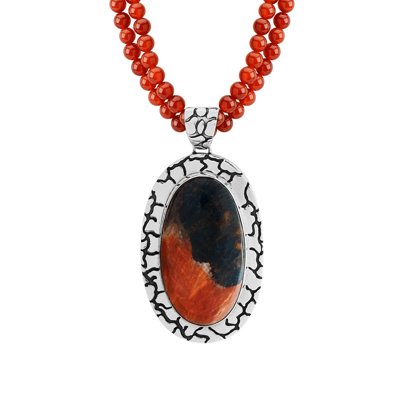 Magnifient Brecciated Jasper in Etched Sterling Silver Statement Pendant Necklace