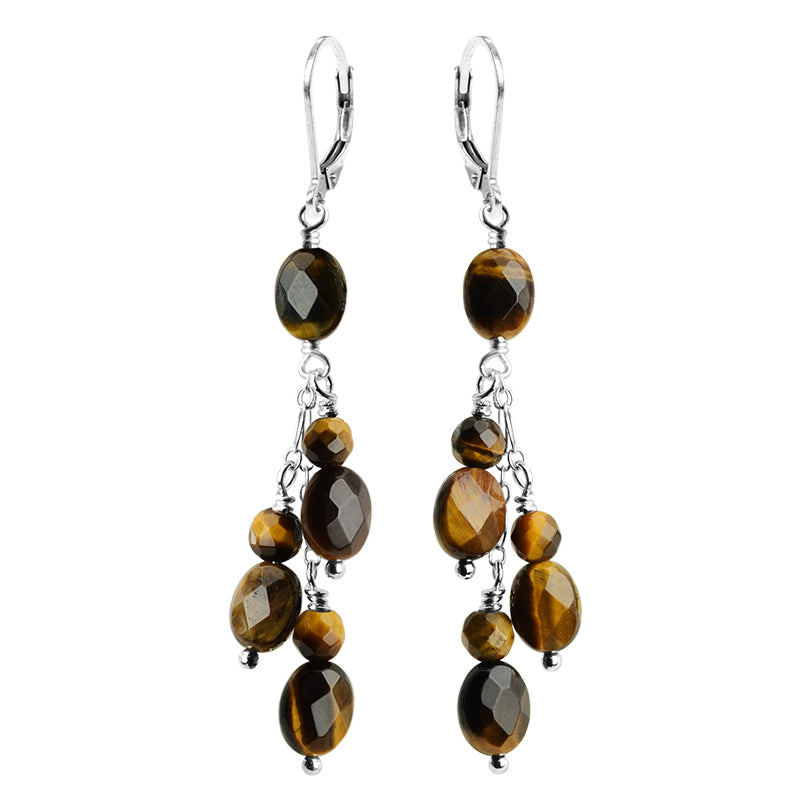 "Shimmering Tiger's-Eye ""Happy"" Earrings with Sterling Silver Hooks"