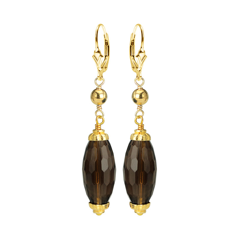 Radiant Faceted Smoky Quartz Gold Filled Earrings