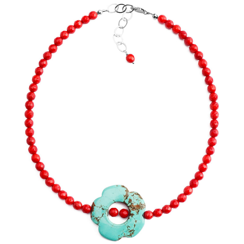 Adorably Bold Chalk Turquoise and Coral Flower Necklace with Sterling Silver clasp