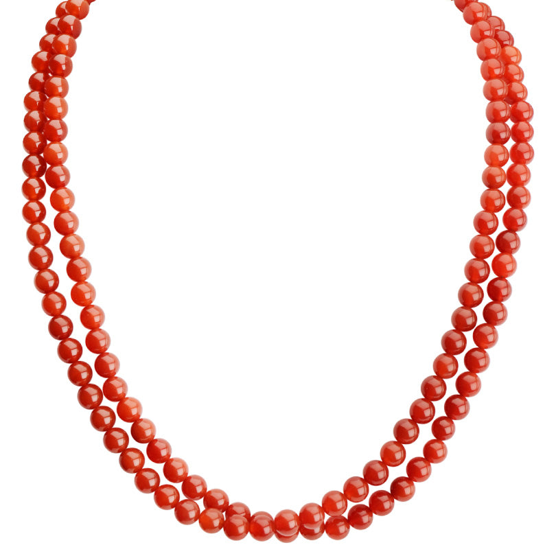 Deep Orange Carnelian Double Strand Necklace with Sterling Silver Toggle Clasp