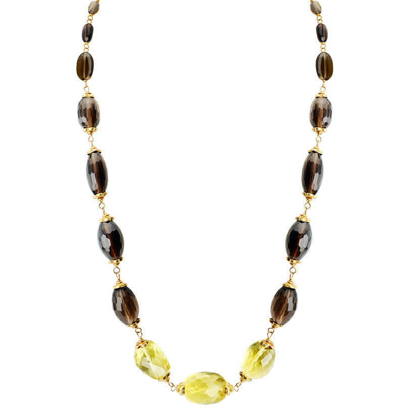 Sparkling Lemon Quartz and Smoky Quartz Necklace with Gold Filled Clasp-adjustable length
