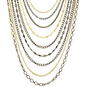 "Lush 9-Strand Gold and Antique Bronze Plated Chain Necklace 25"" - 27"""