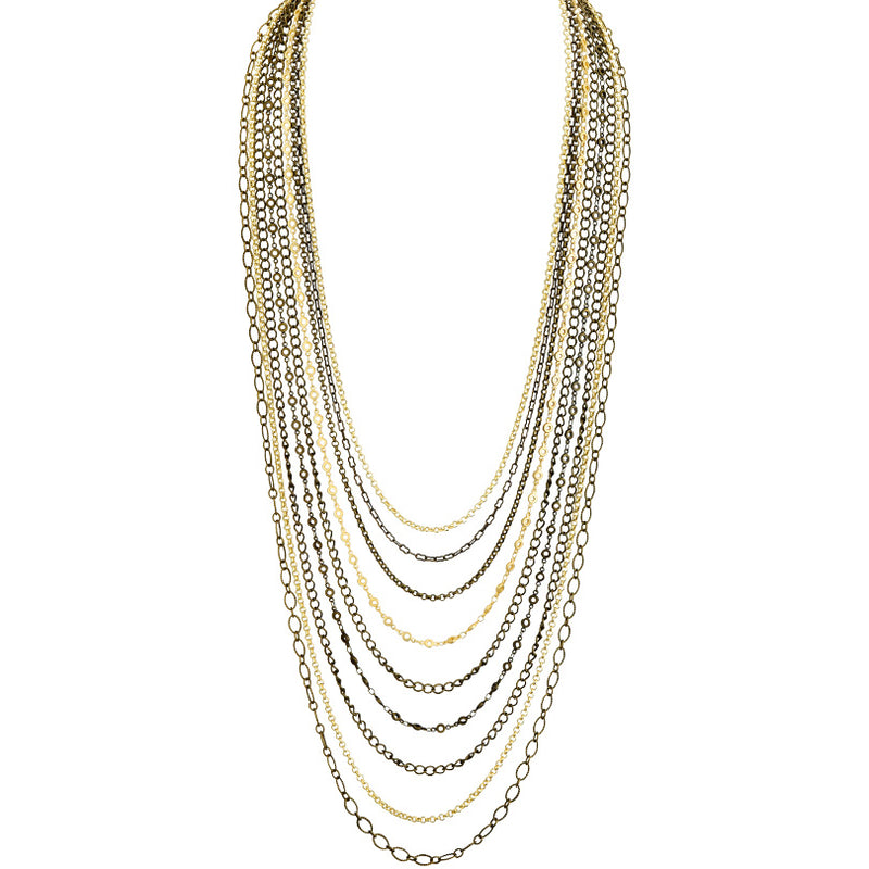 Lush 9-Strand Gold and Antique Bronze Plated Chain Necklace 25