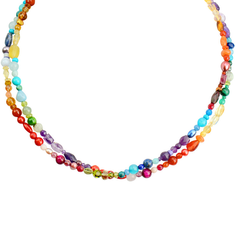 "Rainbow Multi-Stone Sterling Silver Necklace 16"" - 18"""