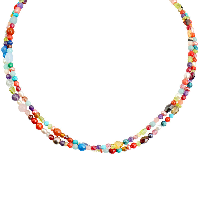 Gorgeous Colorful Semiprecious Multi-Stone Sterling Silver Necklace 16