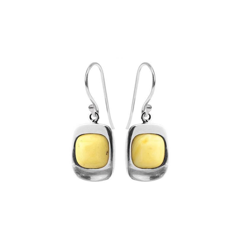 Stunning Modern Design Baltic Butterscotch Amber Sterling Silver Earrings