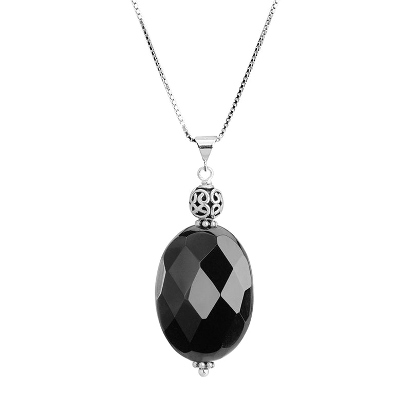 Black Onyx Bali Inspired Sterling Silver Necklace