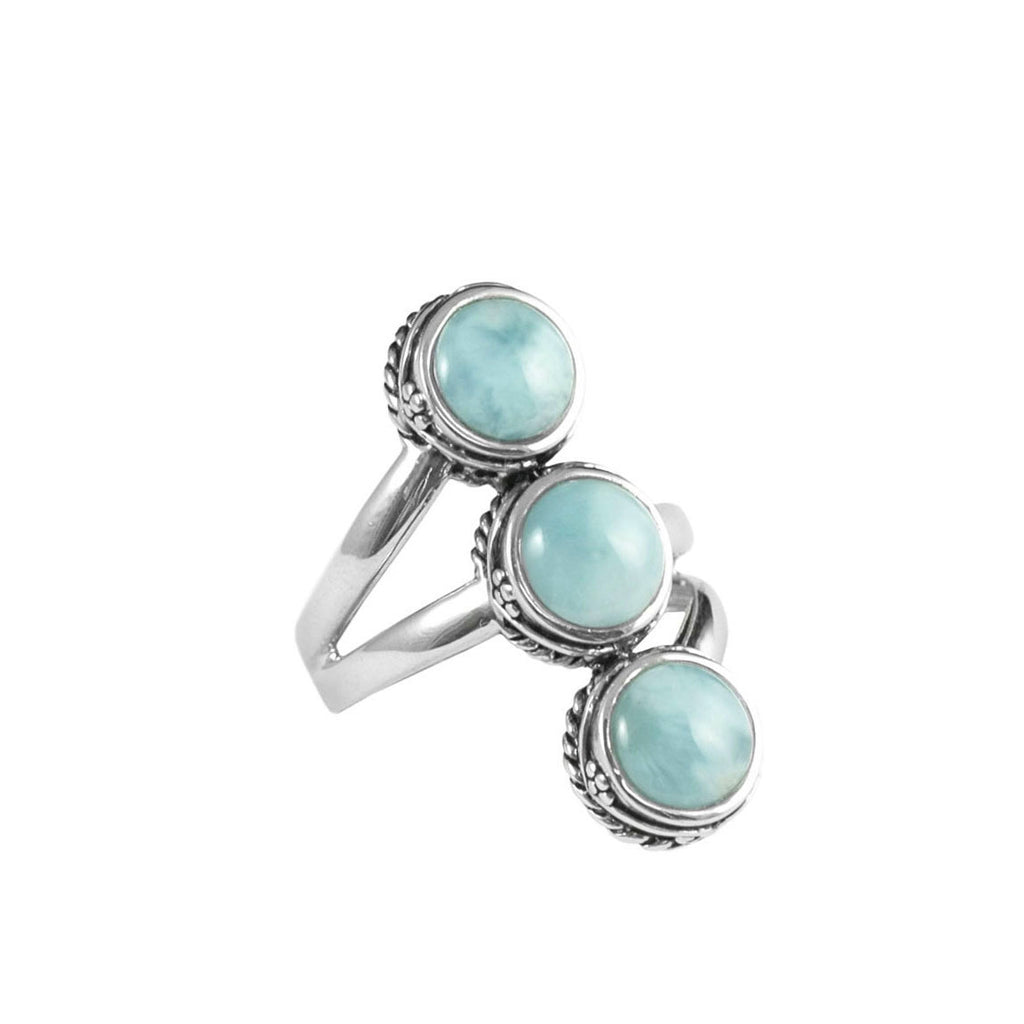 Exquisite Sky Blue Larimar Sterling Silver Statement Ring