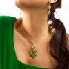 Delicate 14kt Gold Plated Peacock Necklace with Sparkling Marcasite