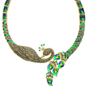 Beautiful Golden Marcasite & Green-Blue Enamel Imperial Peacock Necklace