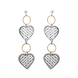 Sparkling Sterling Silver Italian Heart Dangle Earrings With Gold Accent