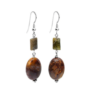 Rich Colors of Mocha Jasper Sterling Silver Earrings