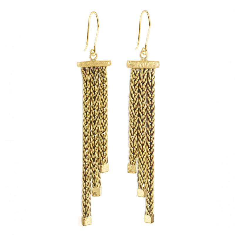 Luxurious Karen London Woven Gold Tone Brass Earrings