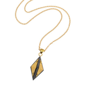 Karen London Large Diamond 3-D Wood & Brass Studded Pendant on Long Gold Plated  Necklace