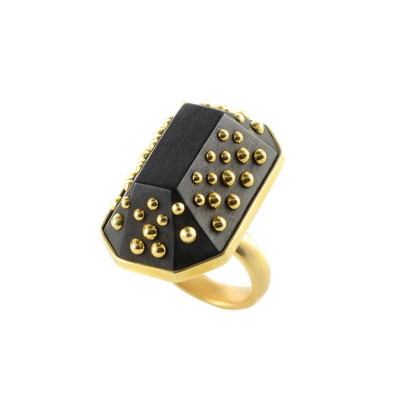 "Karen London ""Top of the Hills"" Golden Brass Studded Ebony Statement Ring-adjustable ring"