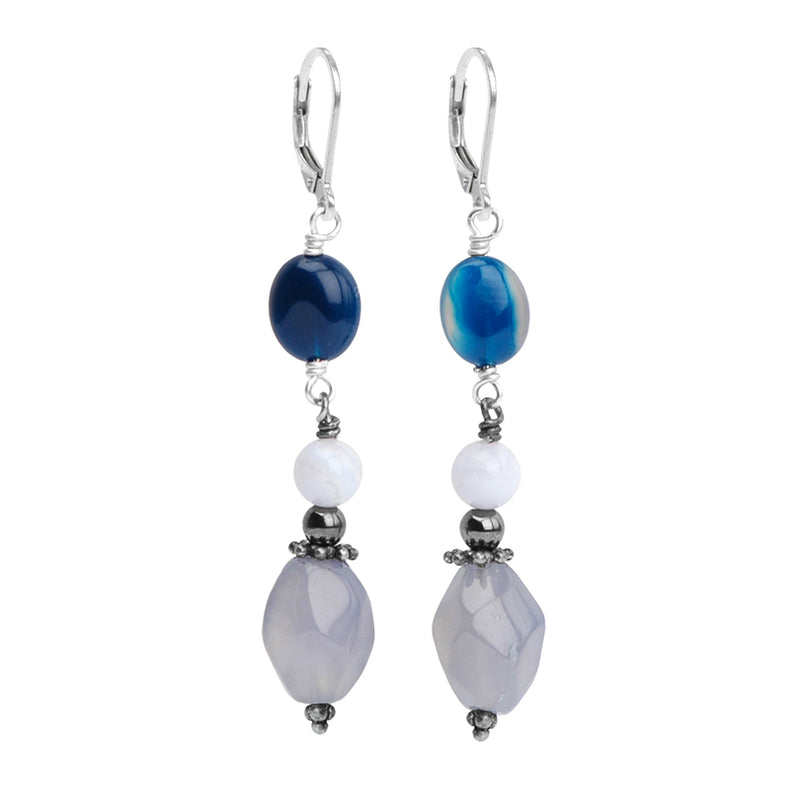 Gorgeous Periwinkle Chalcedony with Blue Kyanite and Lace Agate Sterling Silver Lever Back Earrings