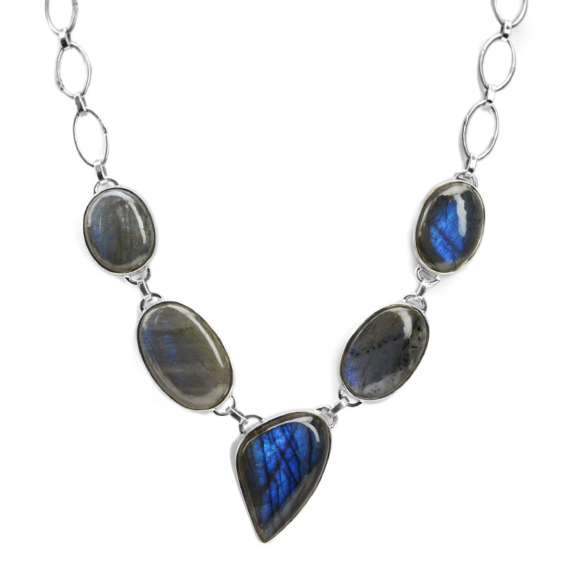 Stunning Labradorite Sterling Silver Statement Necklace