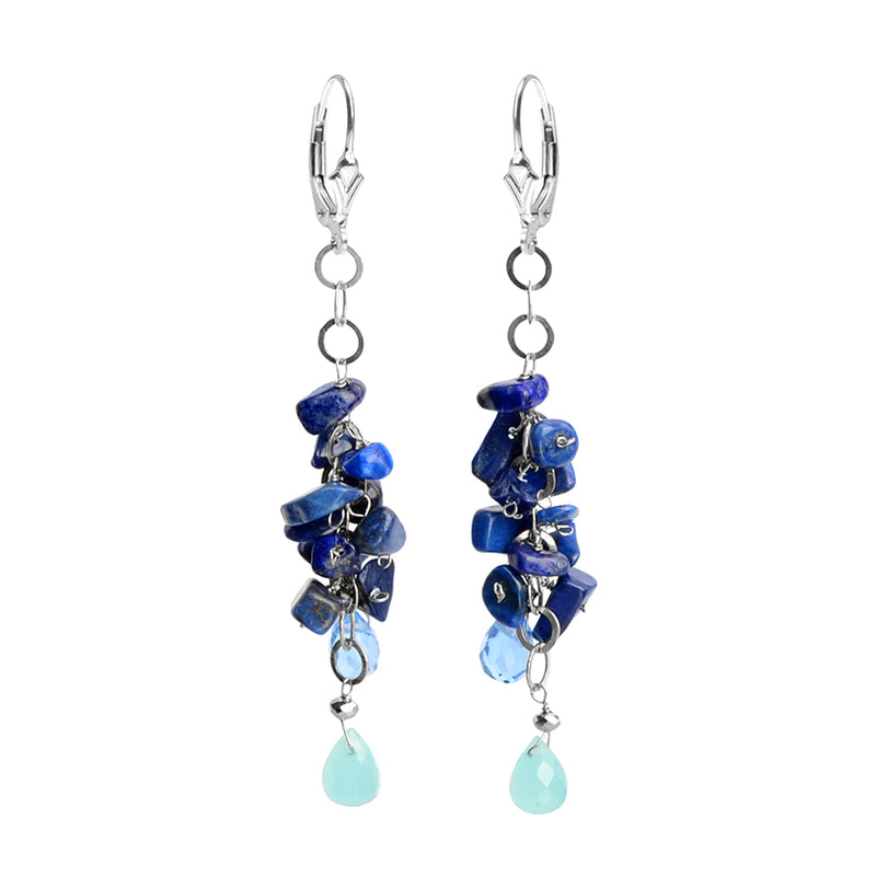 Unusual Lapis Sterling Silver Earrings